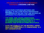 philosophy of solid state materials synthesis choosing a method