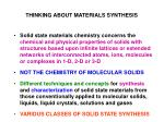 thinking about materials synthesis