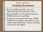 internet and intranet creating documents