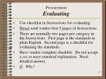 procurement evaluating