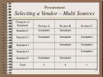 procurement selecting a vendor multi sources