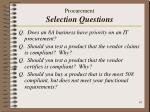 procurement selection questions