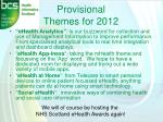 provisional themes for 2012