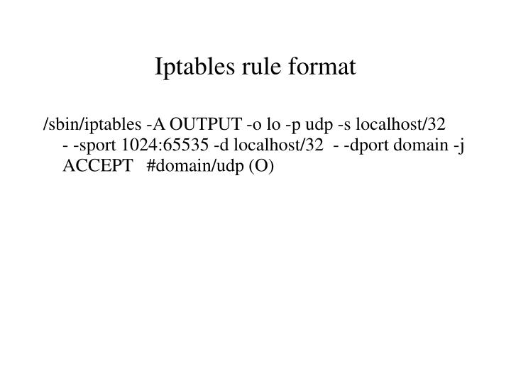 Iptables rule format