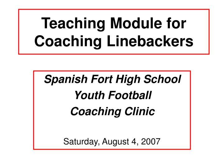 teaching module for coaching linebackers n.