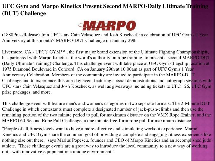 UFC Gym and Marpo Kinetics Present Second MARPO-Daily Ultimate Training (DUT) Challenge
