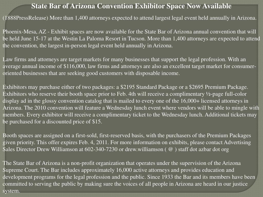 State Bar of Arizona Convention Exhibitor Space Now Available