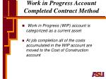 work in progress account completed contract method