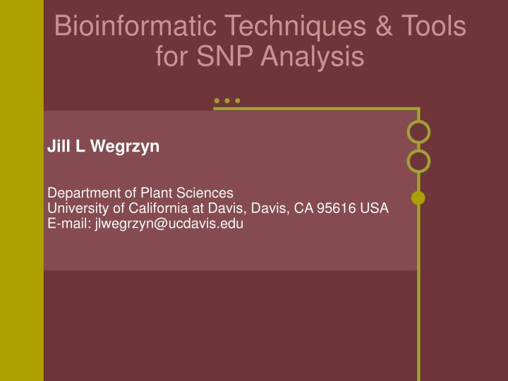 bioinformatic techniques tools for snp analysis n.