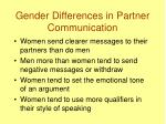 gender differences in partner communication