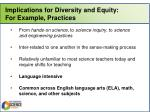 implications for diversity and equity for example practices