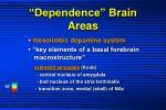 dependence brain areas