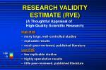 research validity estimate rve