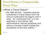 travel status vs compensable travel time