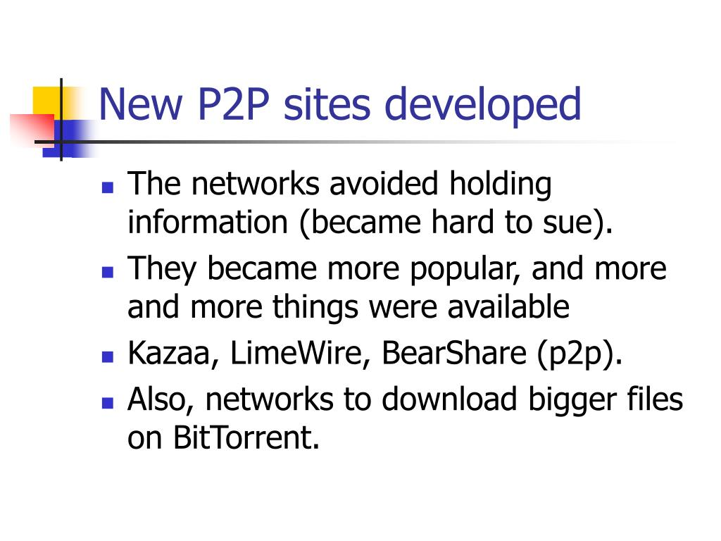 New P2P sites developed