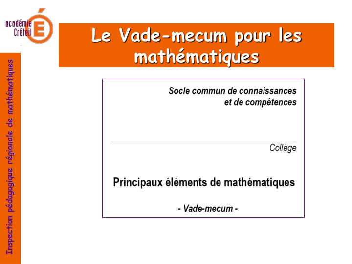 Le Vade-mecum pour les mathématiques