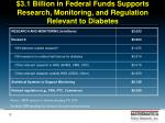 3 1 billion in federal funds supports research monitoring and regulation relevant to diabetes