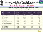 approach for setting targets depends upon the objective of the scheme