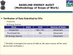baseline energy audit methodology of scope of work