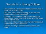 secrets to a strong culture