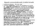 aspects communicationnels la lettre formelle