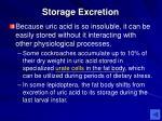 storage excretion