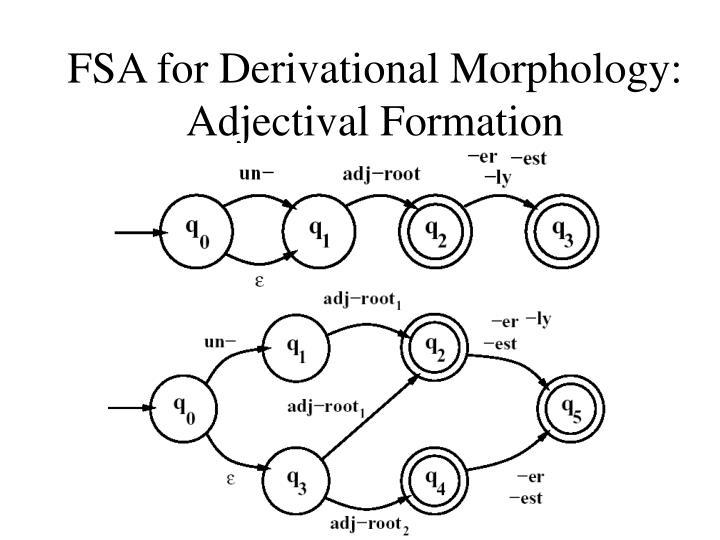 FSA for Derivational Morphology: Adjectival Formation