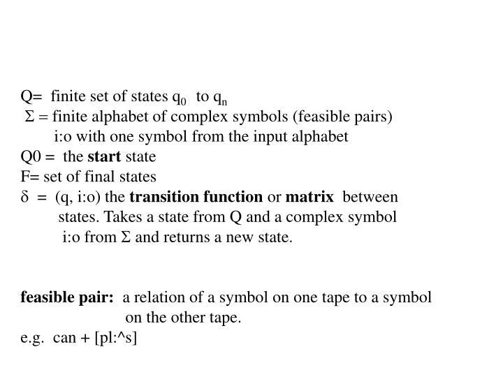 Q=  finite set of states q