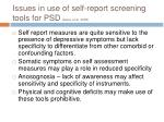 issues in use of self report screening tools for psd gaete et al 2008