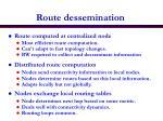 route dessemination
