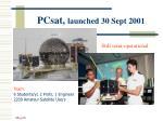 pcsat launched 30 sept 2001