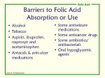 barriers to folic acid absorption or use