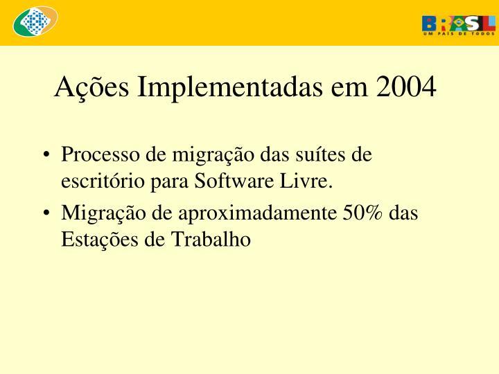 A es implementadas em 2004