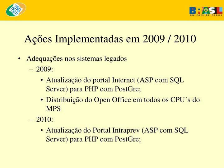 Ações Implementadas em 2009 / 2010