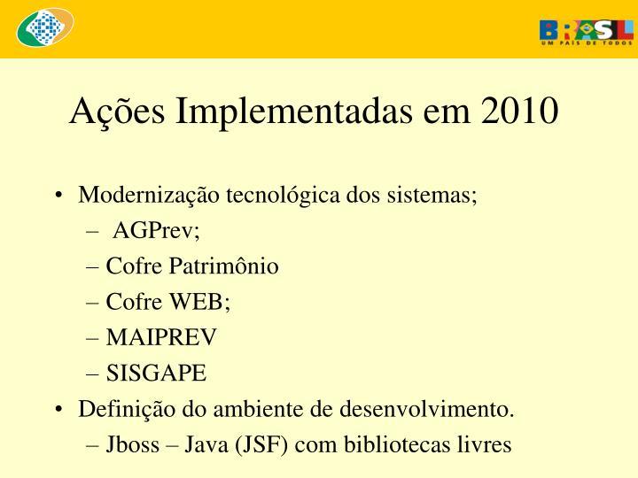 Ações Implementadas em 2010