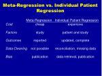 meta regression vs individual patient regression