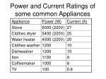 power and current ratings of some common appliances