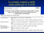 la terapia empirica delle endocarditi per le llgg
