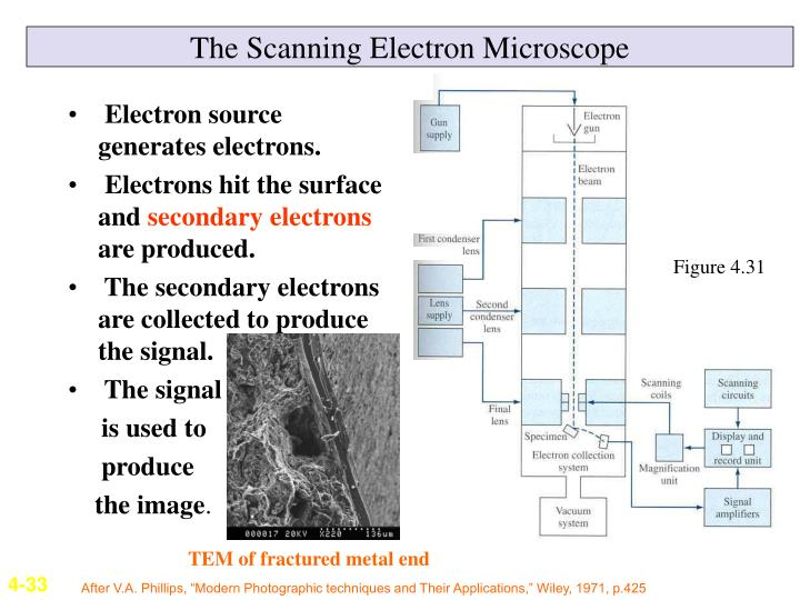 Electron source generates electrons.