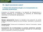 iv qu inversiones cubre 3 desarrollo de biotecnolog a y su incorporaci n en procesos productivos