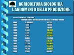 agricoltura biologica l andamento della produzione