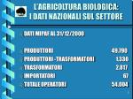 l agricoltura biologica i dati nazionali sul settore