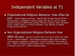 independent variables at t1