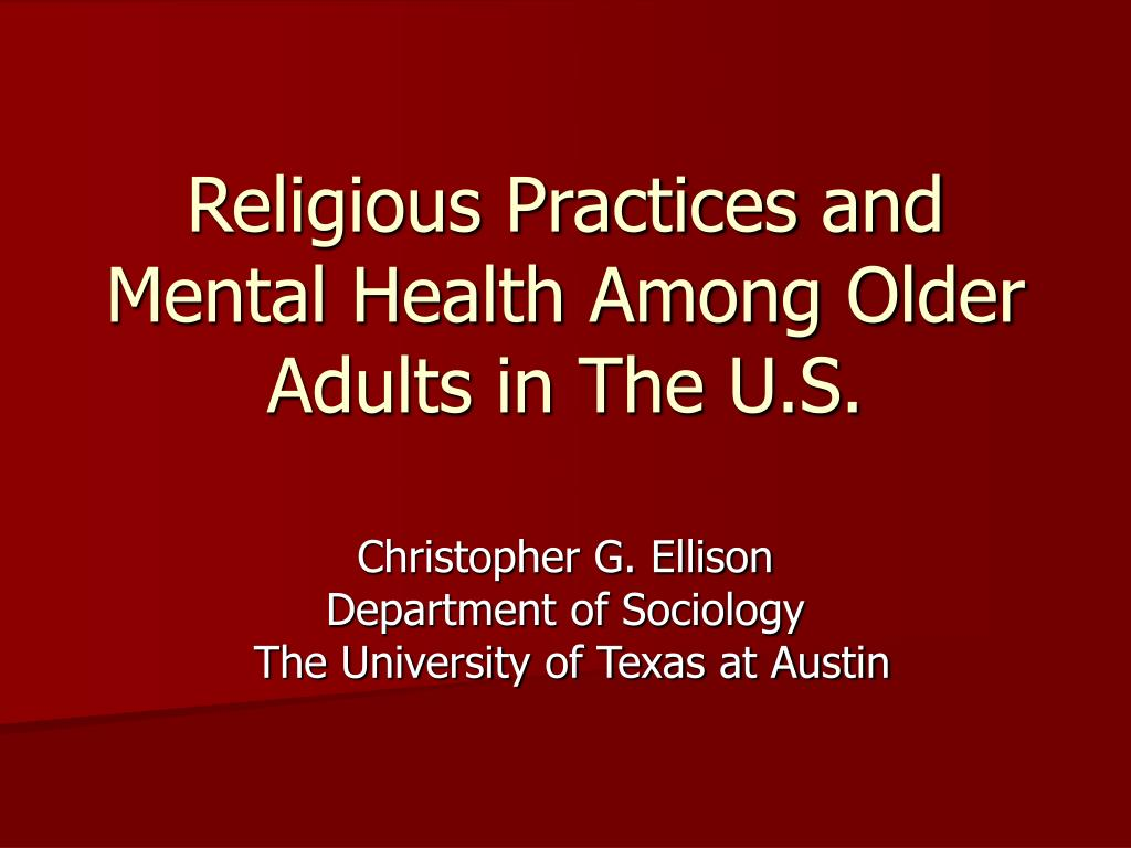 religious practices and mental health among older adults in the u s l.