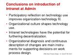 conclusions on introduction of intranet at admin
