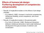 effects of humane job design furthering development of competencies and personality
