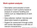 work system analysis