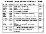 i comitati consultivi costituiti dal cipm