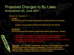 proposed changes to by laws amendment 24 june 2007