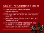 goal of the corporation issues